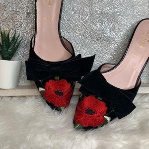 Kate Spade Velvet Bow Floral Mules